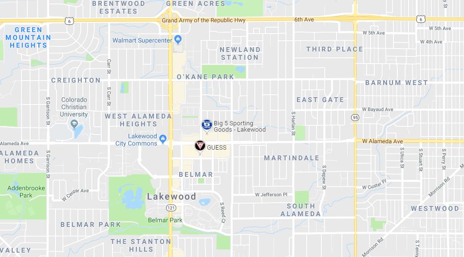 Belmar Colorado Google Map Screenshot