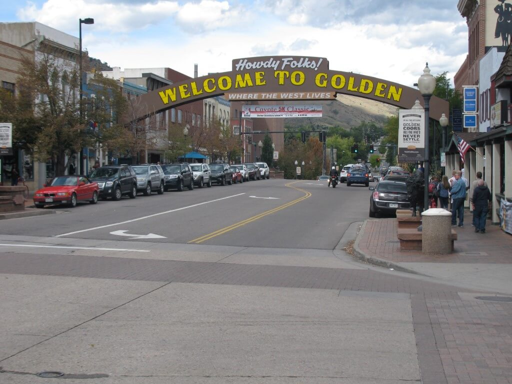 Golden Colorado Entrance on Washington Street