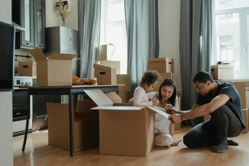Young Family Moving
