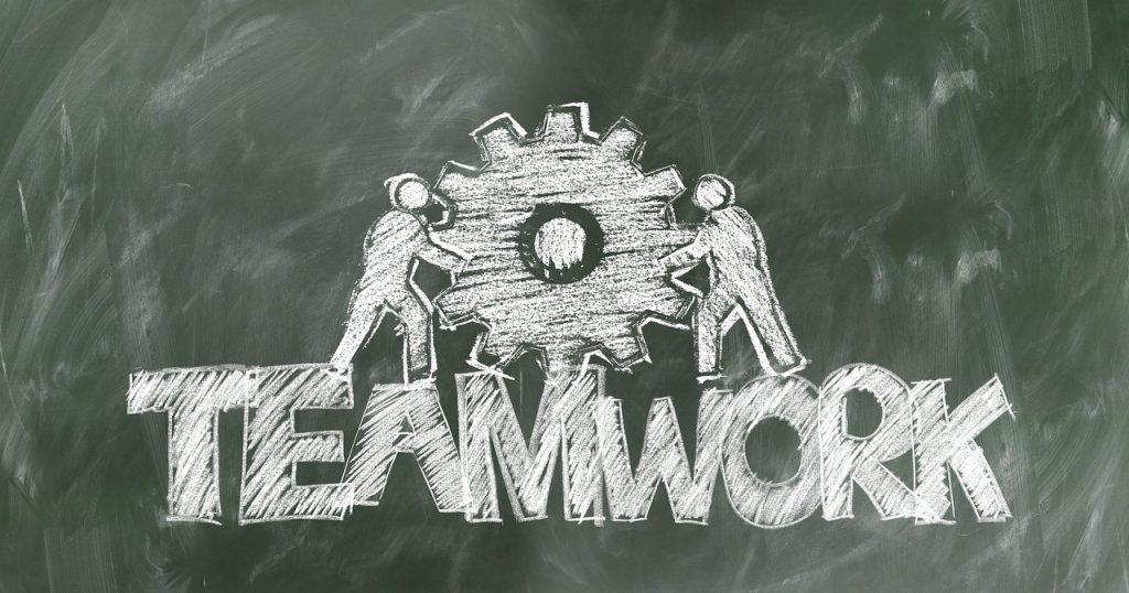 teamwork written on chalkboard